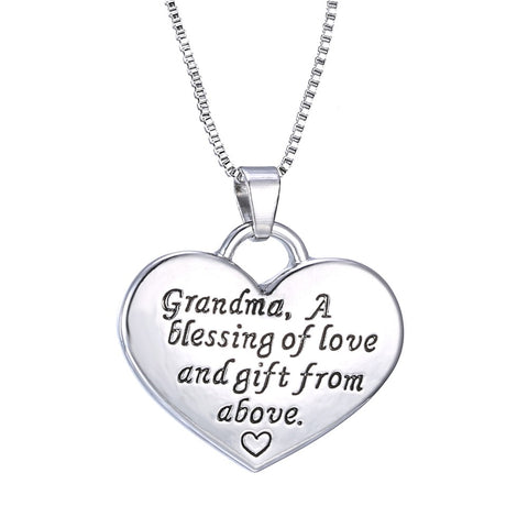 Grandma a Blessing of Love and Gift from Above - Grandma Granddaughter Necklace