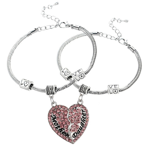Set of 2 Pink Mother & Daughter Heart Bracelets