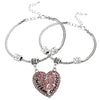 Image of Set of 2 Pink Mother & Daughter Heart Bracelets