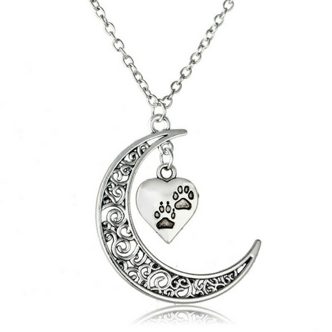 Crescent Moon and Paws Pendant Necklace Paw Print Jewelry