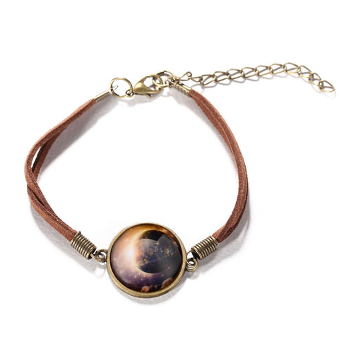 Galaxy & Cosmic Orange Moon Pendant Bracelet