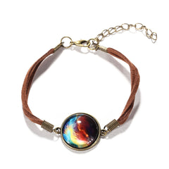 Galaxy & Cosmic Colorful Glass Pendant Bracelet