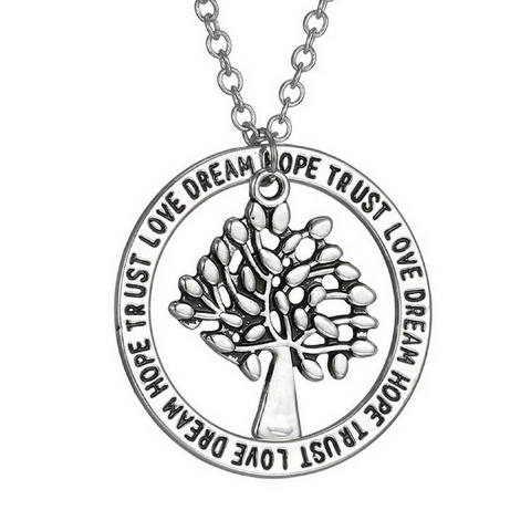 "Tree of Life Pendant Necklace ""Trust Love Dream Hope"""