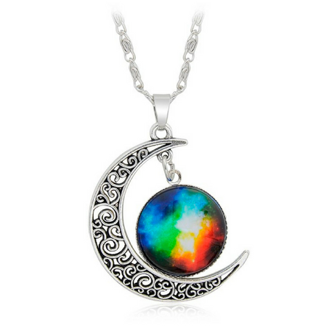 Galaxy & Crescent Cosmic Colorful Glass Necklace