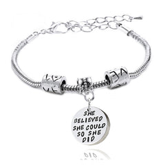 She believed she could so she did - Pendant Charm Bracelet
