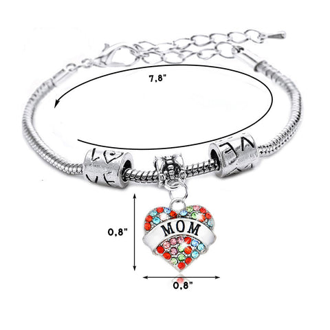 """Mom"" Multi-Color Charm Bracelet"