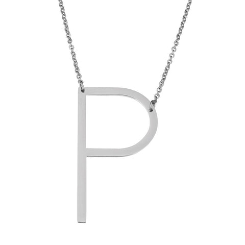 Stainless Steel Initial Necklace Letter P - Large Alphabet Pendant Necklace ♥Valentine's Day Gift for Her♥