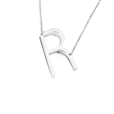 Stainless Steel Initial Necklace Letter R - Large Alphabet Pendant Necklace ♥Valentine's Day Gift for Her♥