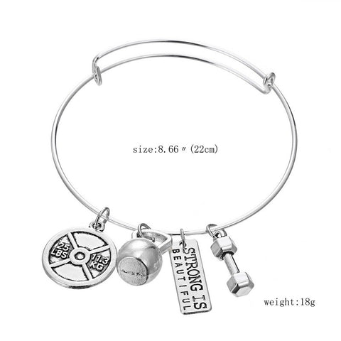 Strong is Beautiful Bangle Pendant Bracelet - Motivational Fitness Jewelry