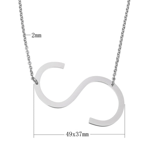 Stainless Steel Initial Necklace Letter S - Large Alphabet Pendant Necklace ♥Christmas Gift for Her♥