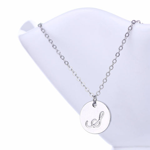 Initial Letter S Stainless Steel Pendant Necklace - Round Alphabet Pendant