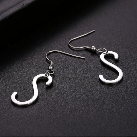 Initial Letter S Stainless Steel Earrings - Alphabet Earrings ♥Special Christmas Gift for Her♥