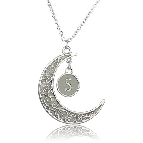 Initial Necklace Letter S - Glow in the dark Half Moon Necklace ♥Christmas Gifts for Her♥ Alphabet Pendant Necklace