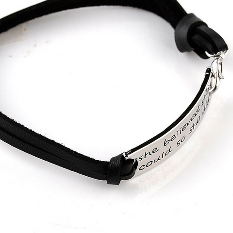 She believed she could so she did - Inspirational Pendant Bracelet