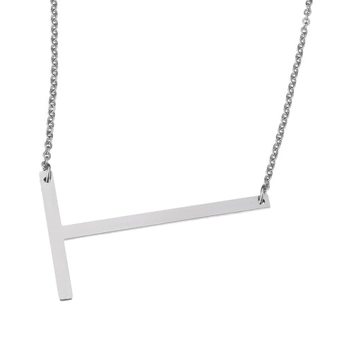 Stainless Steel Initial Necklace Letter T - Large Alphabet Pendant Necklace ♥Christmas Gift for Her♥