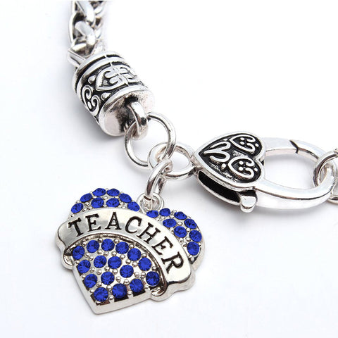 Teacher Heart Charm Pendant Bracelet
