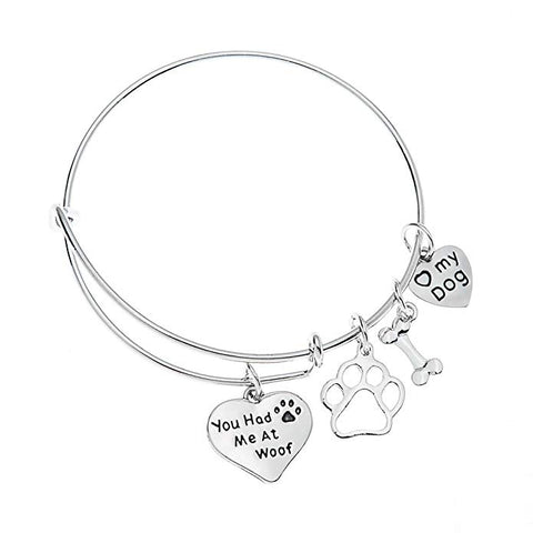 Dog Charm Bracelet - Paw Print Jewelry- Dog Lovers Bracelet