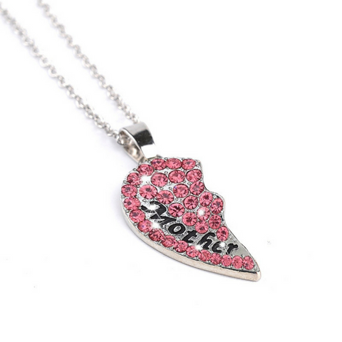 Mother & Daughter Pink Heart Necklace Set of 2