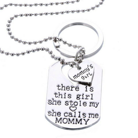 Mommy's Girl Pendant Necklace & Keychain