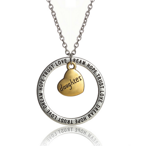 Dream Hope Love Trust Daughter Pendant Necklace