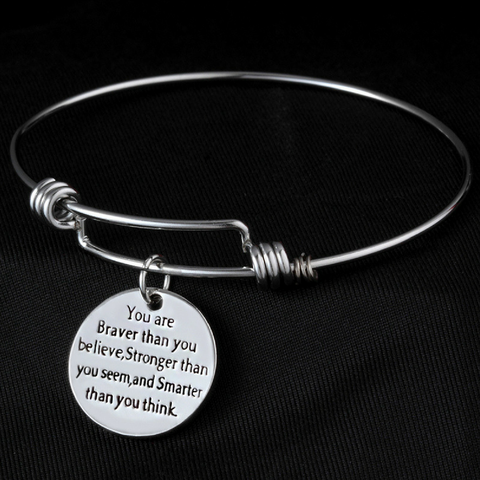 """You are braver than you believe"" Bangle Bracelet"