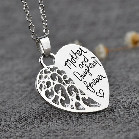 Mother And Daughter Forever Heart Pendant Necklace