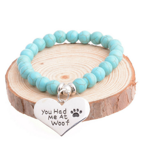 """You Had Me at Woof"" Charm Bracelet Paw Print Jewelry"