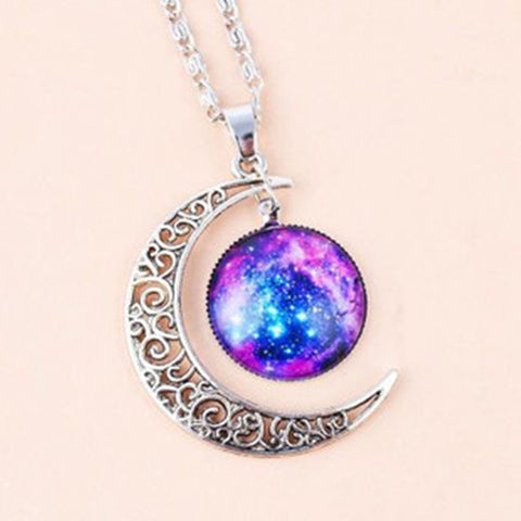 Galaxy & Crescent Cosmic Moon Purple Pendant Necklace