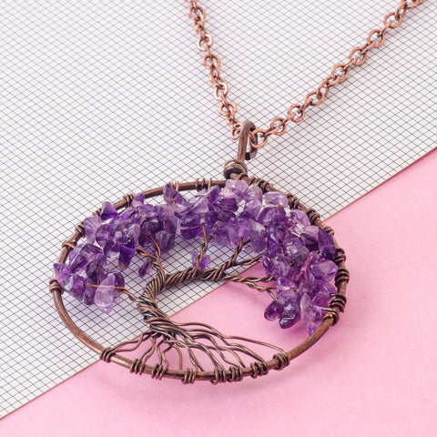 Tree of life - Gemstone Chakra Jewelry Purple Bronze Chain Necklace