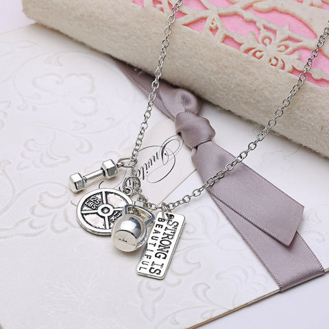 Strong is Beautiful Pendant Necklace - Best Motivational Gift - Weight Plate Barbell Dumbbell Pendants