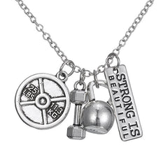 Strong is Beautiful Pendant Necklace Set - Sports and Fitness Inspirational Jewelry