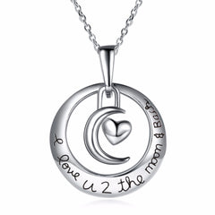I love you to the moon and back Circle Necklace - Heart Pendant Necklace - Jewelry Gift