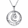 Image of I love you to the moon and back Circle Necklace - Heart Pendant Necklace - Jewelry Gift