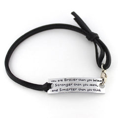 """You are Braver than you believe"" Pendant Bracelet"
