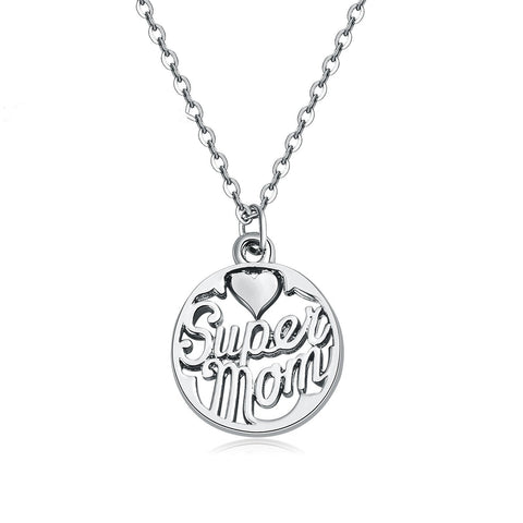 """Super Mom"" Charm Necklace"