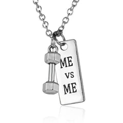 Best Motivational Gift ME vs ME Pendant Necklace - Barbell Dumbbell Pendants
