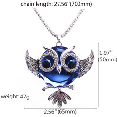 Luvalti Owl Pendant Necklace for Women - Blue Crystal Pendant Necklace - Fashion Jewelry - 27.5''