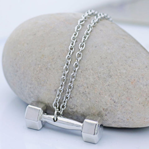 Barbell Dumbbell Pendant Necklace - Best Motivational Gift for Men and Women