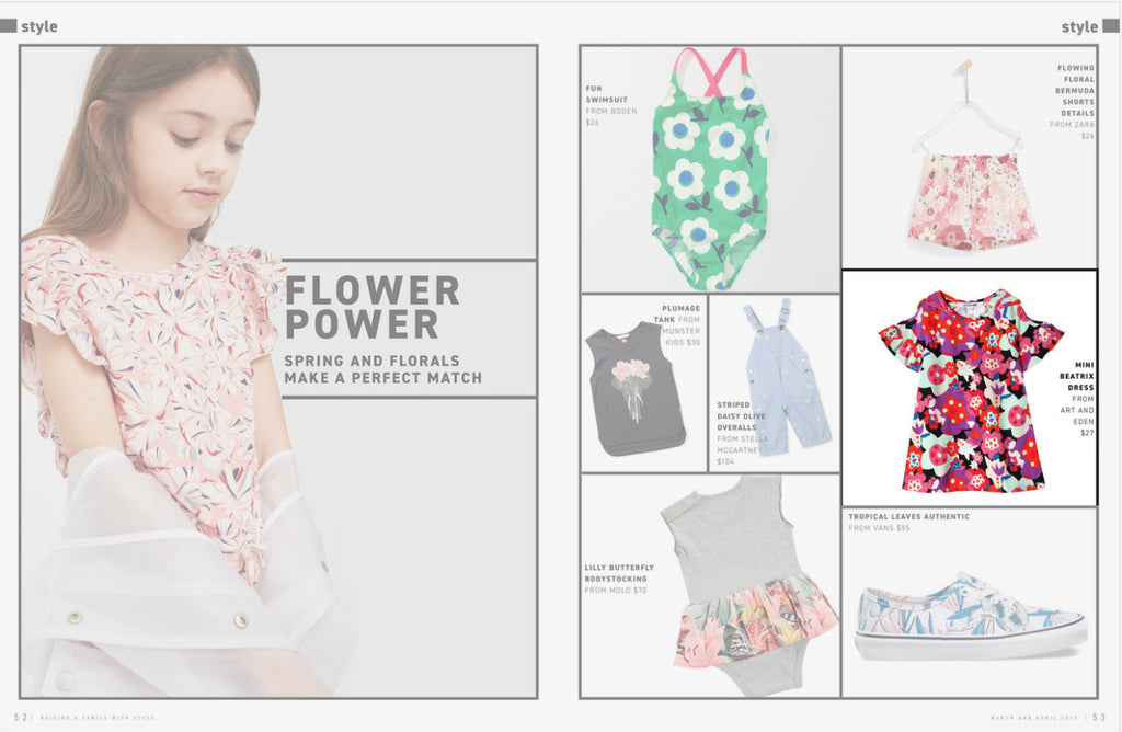 art & eden in Avidly Family Living magazine - mini beatrix dress in floral reef print