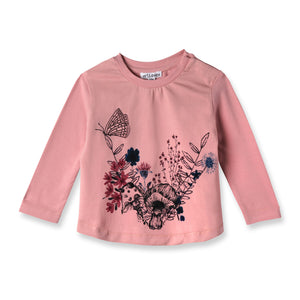 Mini Lillian Long Sleeve Tee, a basic long sleeve top with a garden, floral, butterfly print in black, pink, pink and blue. The shirt features a hidden snap close on the shoulder and a slightly cinched neckline. The Mini Lillian Long Sleeve Tee is made from organic cotton with low-impact dyes making it safe for children to wear. art & eden is GOTS certified, making sustainable, conscious, and organic kids clothing the better way. Buy better. Do better.