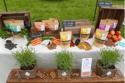 Display of CC Bear cruelty free, dog biscuits for wellness offerings