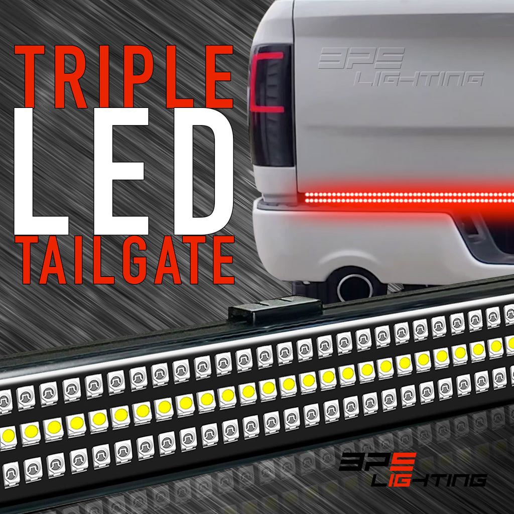 Triple led tailgate light bar w sequential amber turn signal triple led tailgate light bar w sequential amber turn signal car lighting source inc aloadofball Image collections