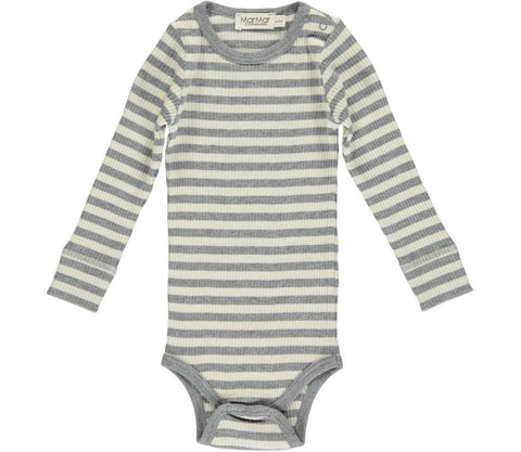 Grey and creme stripe bodysuit | MarMar Copenhagen