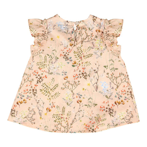 Nude flower print baby top dress | Christina Rohde