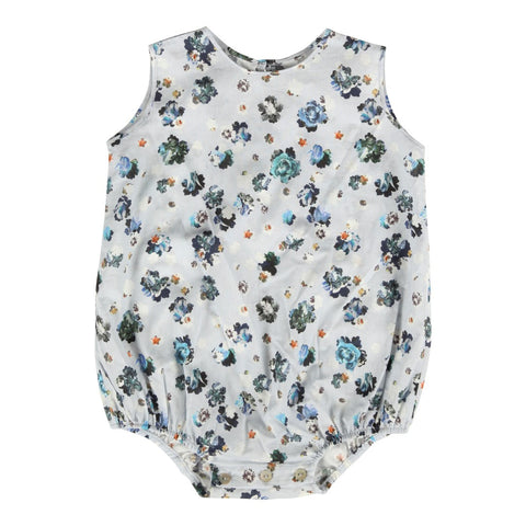 Blue flower print baby bodysuit | Christina Rohde