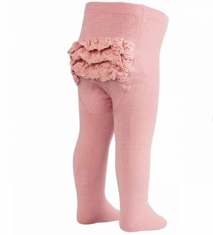 Pink fringe baby tights | MP Denmark