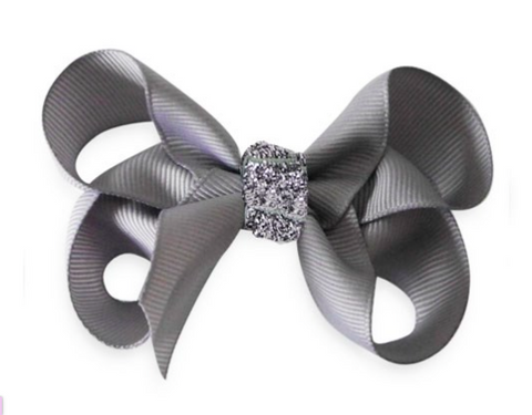 Grey shimmer bow hair clips | Bows by Staer
