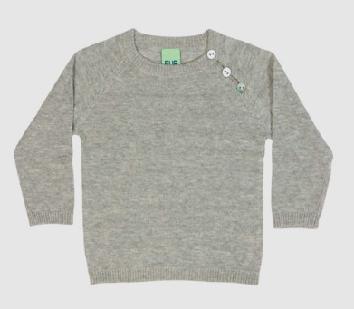 Grey knit baby blouse top | FUB