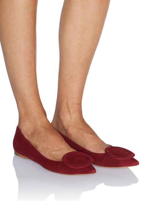 Circle Detail Red Flat,Gianvito Rossi,- Fivestory New York