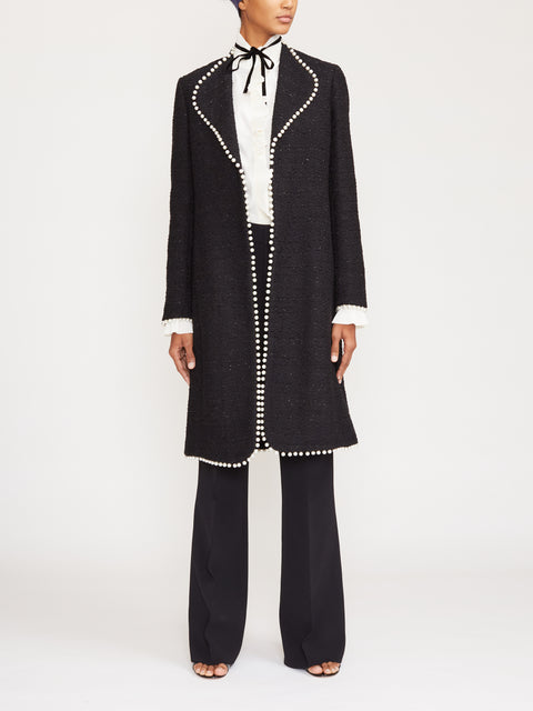 Lurex Tweed Pearl Trim Coat